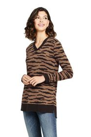 Lands End Women's Tall Cotton V-neck Tunic Sweater