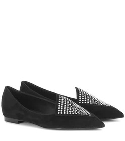 Balmain Crystal-embellished suede slippers