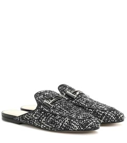 Tod's Double T tweed slippers