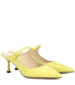 Prada Croc-embossed leather mules
