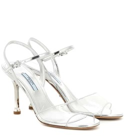 Prada Metallic leather and PVC sandals