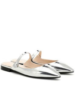 Prada Metallic leather slippers