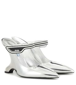 Prada Metallic leather mules
