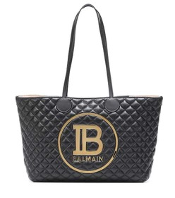 Balmain Logo quilted leather tote