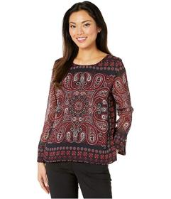 Tommy Hilfiger Paisley Long Sleeve Pleated Blouse