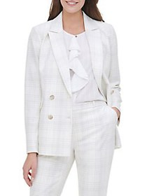 Tommy Hilfiger Plaid Double Breasted Blazer IVORY