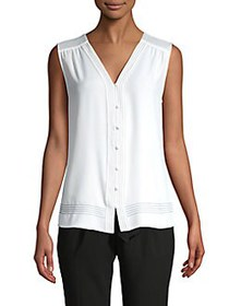Calvin Klein Contrast Stitch Sleeveless Top CREAM