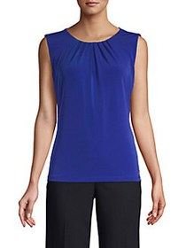 Calvin Klein Pleated-Neck Sleeveless Top REGATTA