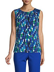 Calvin Klein Geometric-Print Pleated Top REGATTA M