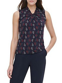 Tommy Hilfiger Knotted-Neckline Top MIDNIGHT MULTI