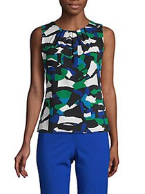 Calvin Klein Petite Printed Pleated Top MEAD MULTI