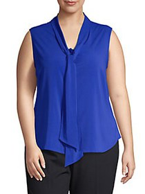Calvin Klein Plus Tie Neck Stretch Sleeveless Top