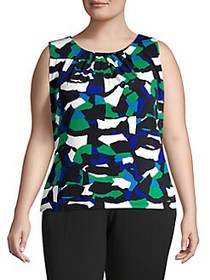 Calvin Klein Plus Printed Pleated Top MEAD MULTI