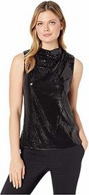 Nicole Miller Sequin Cowl Neck Top