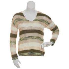 Absolutely Famous Texture Striped V-Neck Sweater