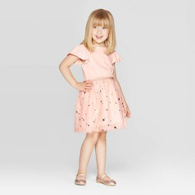 Toddler Girls' Short Sleeve Star Print Tulle Dress