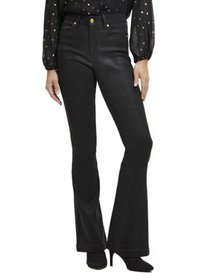 Scoop High Rise Coated Flare Jeans with Gold-Tone