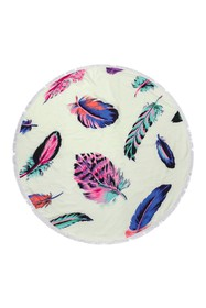 Riah Fashion Multicolor Feather Round Towel