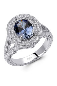 LaFonn Platinum Over Sterling Silver Oval-Cut Lab