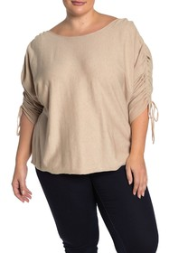 Max Studio Ruche Sleeve Knit Shirt (Plus Size)
