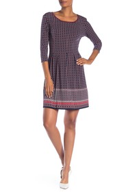 Max Studio 3/4 Sleeve Fit & Flare Dress