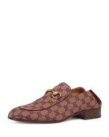 Gucci Men's Mister GG Canvas Fold-Down Loafers