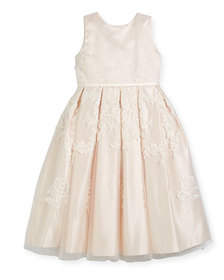 Joan Calabrese Satin Dress w/ Floral Embroidered O