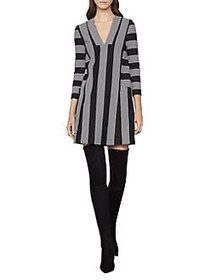 BCBGMAXAZRIA Striped Tunic Dress BLACK COMBO