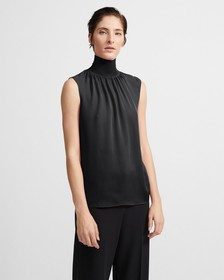 Ribbed Neck Shell Top in Silk