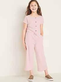 French Terry Utility Jumpsuit for Girls