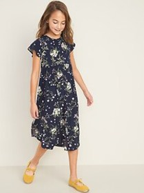 Flutter-Sleeve Tulip-Hem Midi Dress for Girls