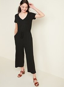 Bouclé-Knit Waist-Defined Jumpsuit for Women