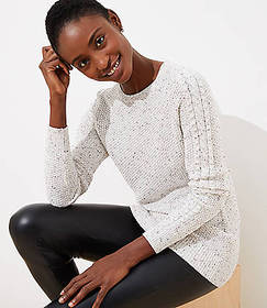 Petite Flecked Cable Sleeve Sweater
