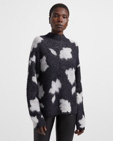 Mock Neck Sweater in Floral Alpaca Wool Jacquard
