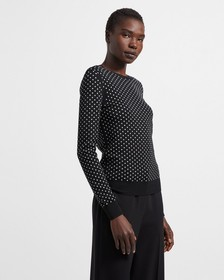 Crewneck Sweater in Polka Dot Regal Wool