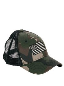 Men's Camo with Embroidery Flag Trucker Hat