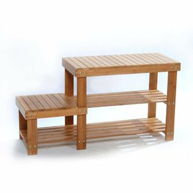 Zimtown 100% 2 Tiers Natural Bamboo Shoe Bench Sho