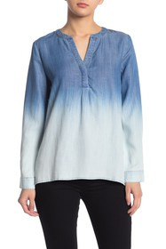 CURRENT AIR Ombre Washed Split Neck Top
