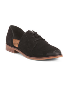 REBELS Men's Open Side Lace Up Suede Oxford Shoes
