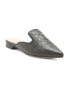 SCHUTZ Made In Brazil Leather Croc Mules