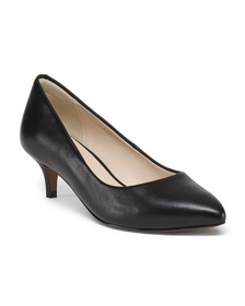 Reveal Designer Leather Low Heel Comfort Pumps