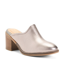 HUSH PUPPIES Leather Mule Heels