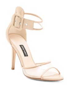 NINE WEST Double Strap Leather Vinyl Dress Heels