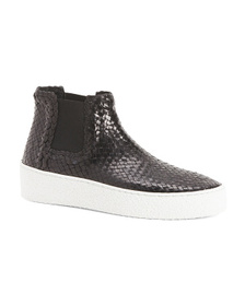 AQUATALIA Made In Italy Woven Mid Sport Leather Bo