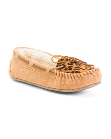 MINNETONKA Suede Allie Animal Trapper Slippers