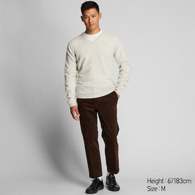 Men Premium Lambswool V-Neck Long-Sleeve Sweater,