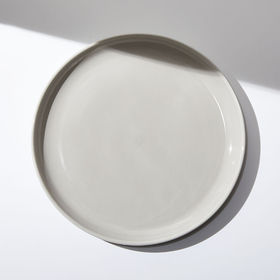 Crate Barrel Logan Grey Stacking Dinner Plate
