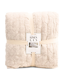 PURE LUXURY LINEN Linen Blend Floral Quilt