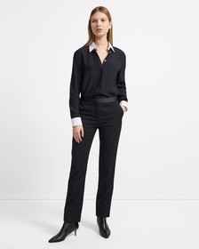 Contrast Straight Shirt in Viscose Crepe