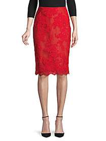 Marchesa Lace Pencil Skirt RED